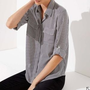 LOFT Striped Utility Button Down Blouse